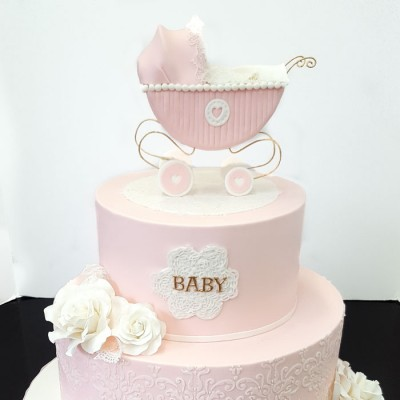 baby shower cakes-2-tier carriage topper