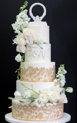 5-tier ivory and rose gold