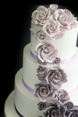 Purple cascading roses