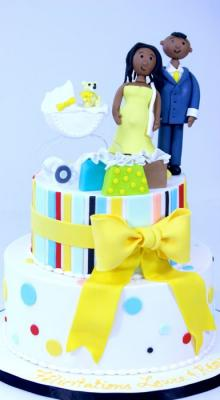 Yellow Bow on 2-tiers