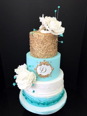 Aqua and gold with ruffles
