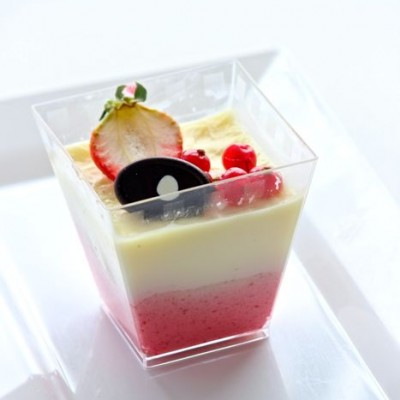 Panna Cotta with Strawberry Mousse