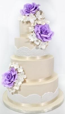 4-tier purple flowers